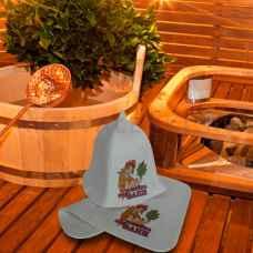 "Набор для бани ""Хозяйка бани""коврик 42 х 32 см, шапка до 62 р. войлок"