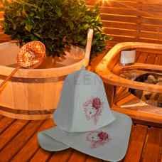 "Набор для бани ""Романтичная дама""коврик 42 х 32 см, шапка до 62 р. войлок"