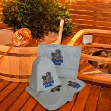 "Набор для бани ""Хозяин бани"" из 5-ти предметов: коврик, шапка, варежка, портфель, мочалка из войлока"