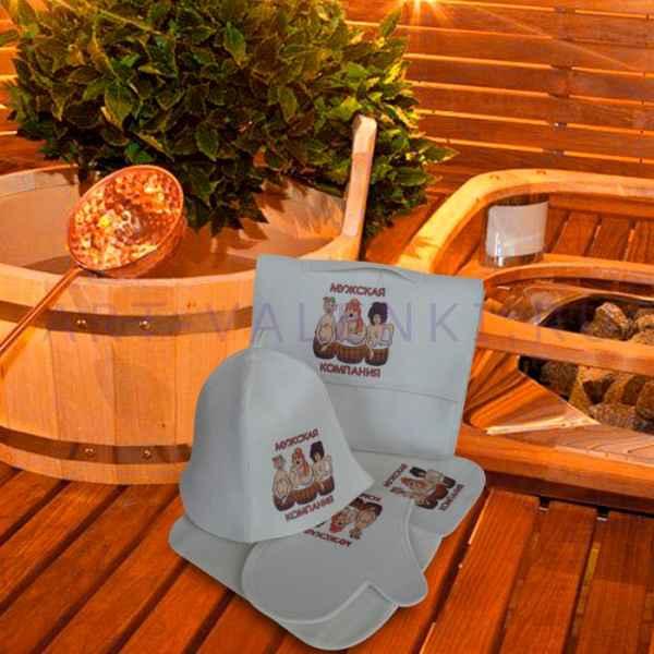 """Набор для бани """"Мужская компания"""" из 5-ти предметов: коврик, шапка, варежка, портфель, мочалка из войлока"""