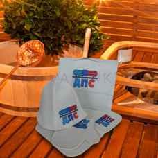 """Набор для бани """"ДПС"""" из 5-ти предметов: коврик, шапка, варежка, портфель, мочалка из войлока"""