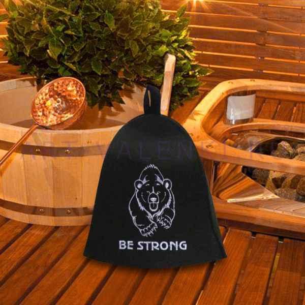 "Шляпа для бани и сауны "" Медведь Be strong""до 64 р. ПЭ"